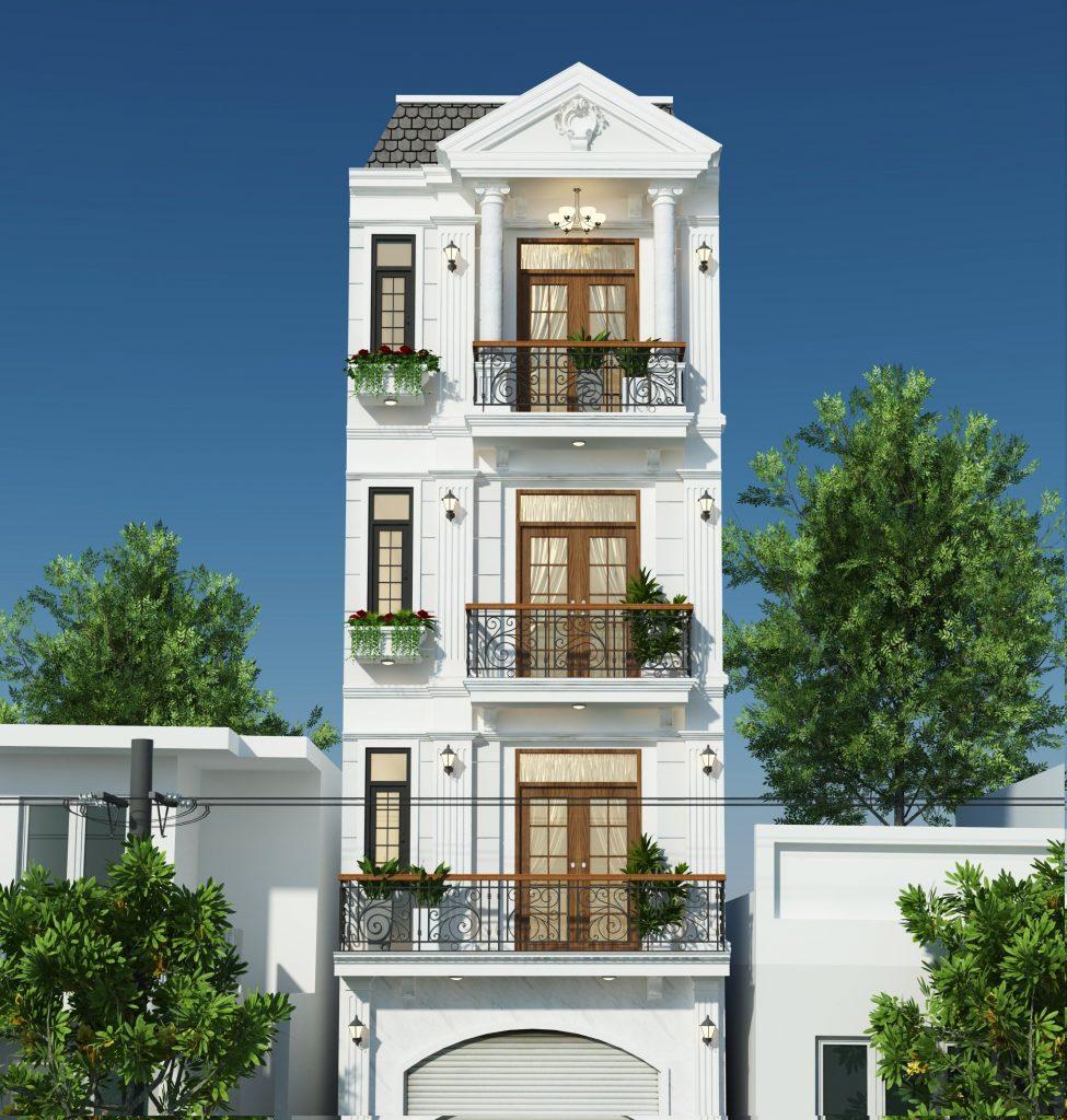 Thiết kế nhà phố tân cổ điển, vừa hiện đại, vừa hài hòa nét kiến trúc cổ điển