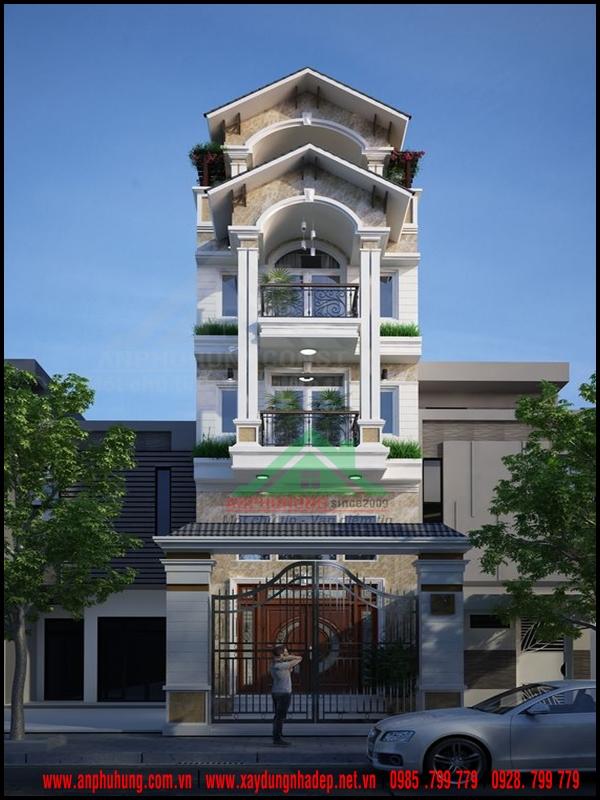 Mẫu nhà tân cổ điển 4 tầng